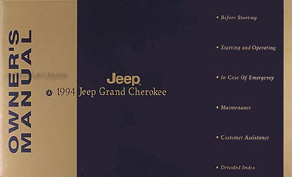 1994 Jeep Grand Cherokee Owner's Manual Original