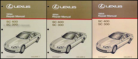 1994 Lexus SC 300/400 Repair Manual Original 3 Volume Set