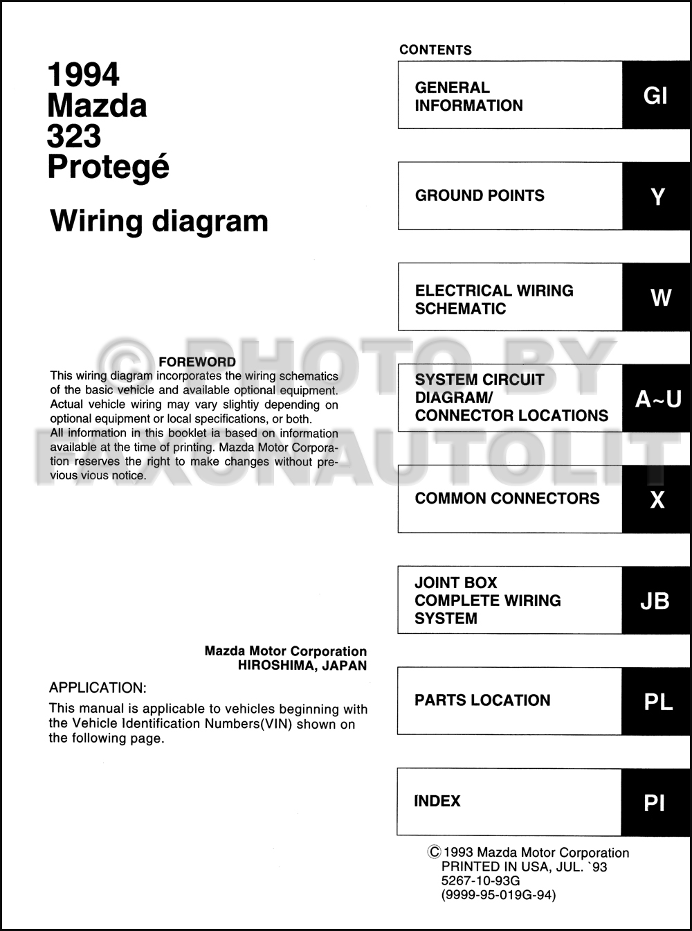 1994 Mazda 323 And Protege Wiring Diagram Manual Original