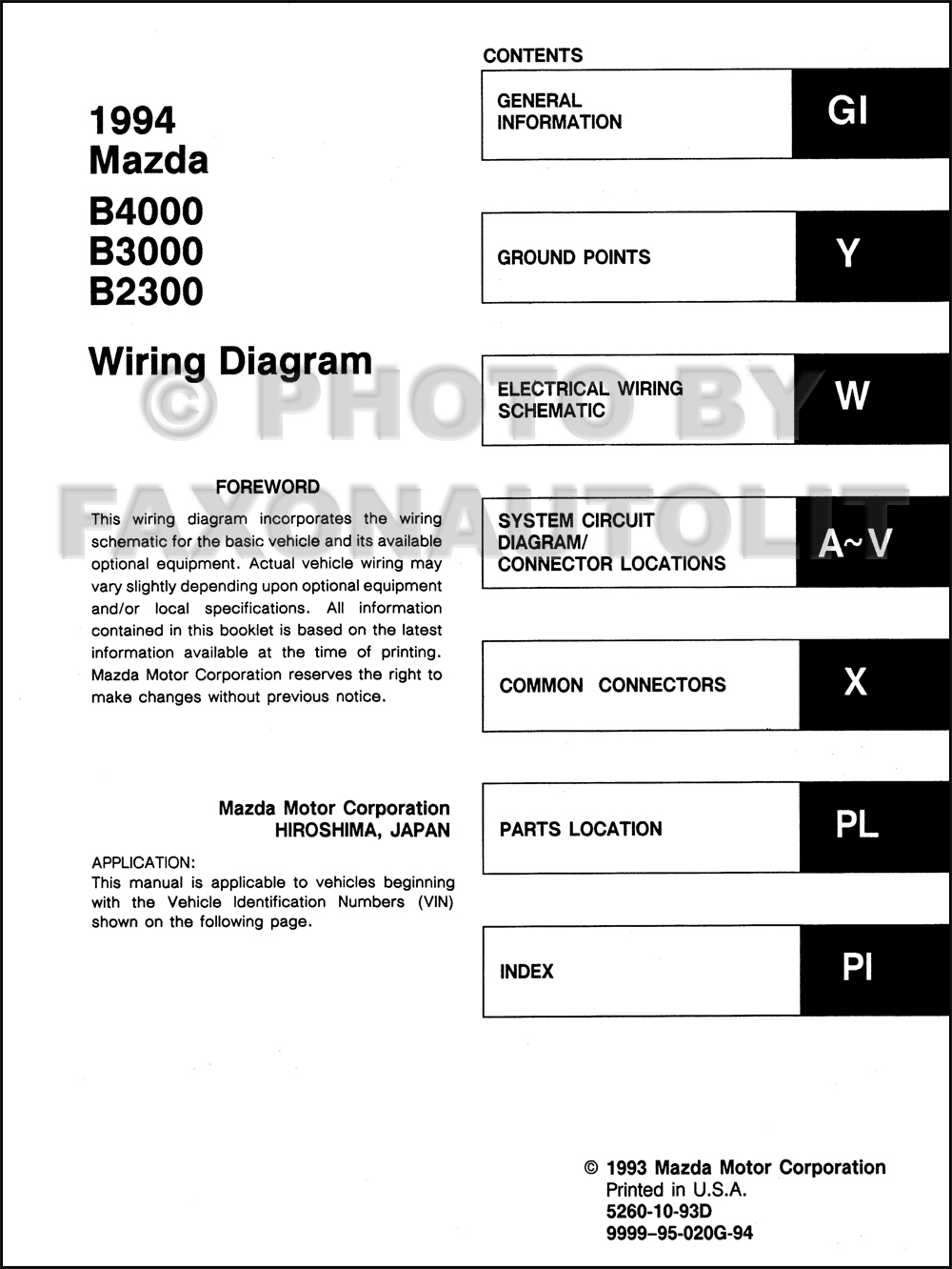 1994MazdaB4000B3000B23000OWD TOC 2001 mazda pick up fuse diagram wiring library