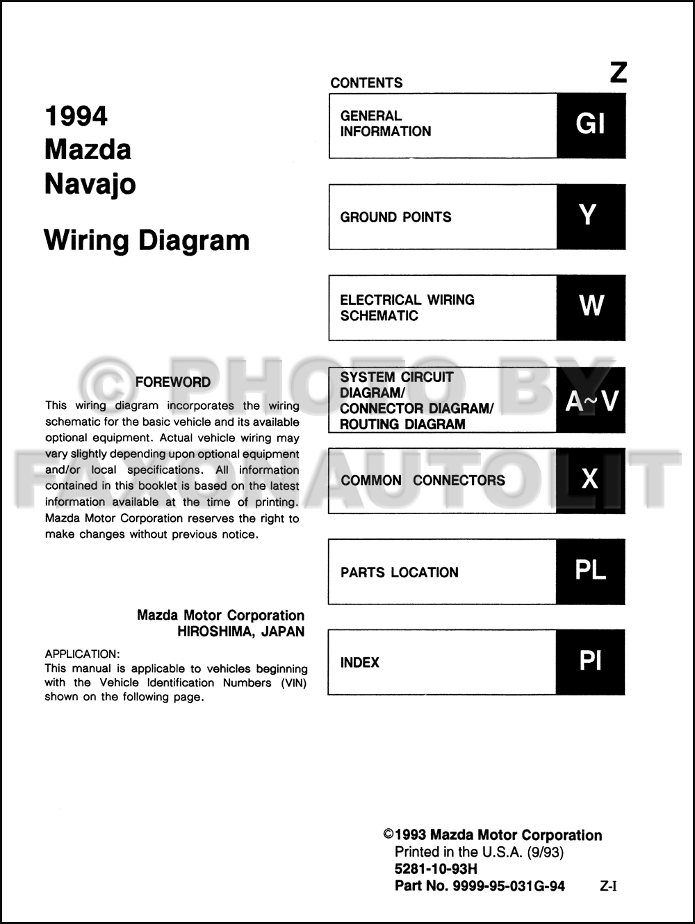 94 Mazda Navajo Fuse Diagram Schematic Diagrams 1991 Box 1994 Wiring Manual Original 2 Door