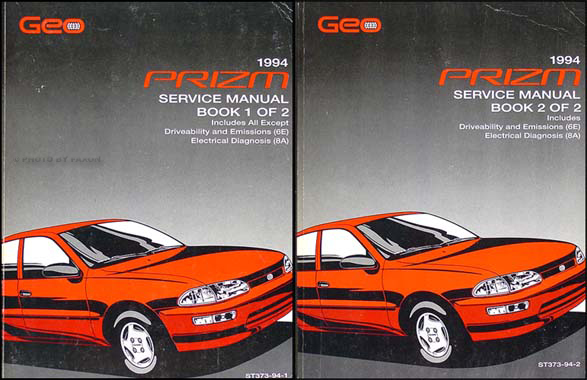 1994 Geo Prizm Shop Manual Original 2 Volume Set