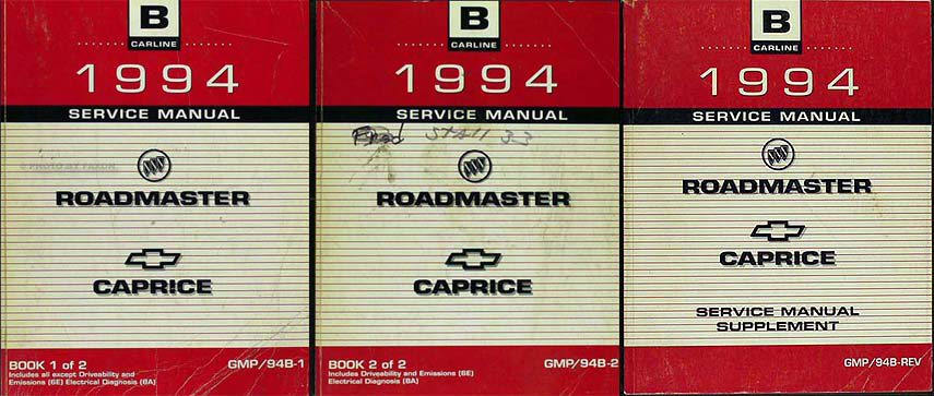 1994 Chevy Caprice/Impala SS/Buick Roadmaster Shop Manual Original Set