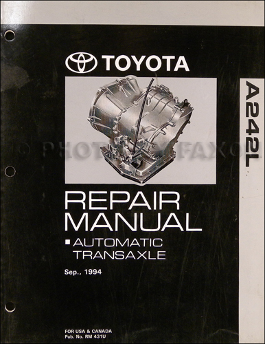 1994-1999 Toyota Tercel 4 Speed Automatic Transmission Repair Shop Manual