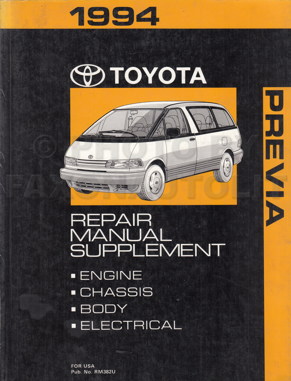 1994 toyota previa van repair shop manual original supplement1994 toyota previa van repair manual original
