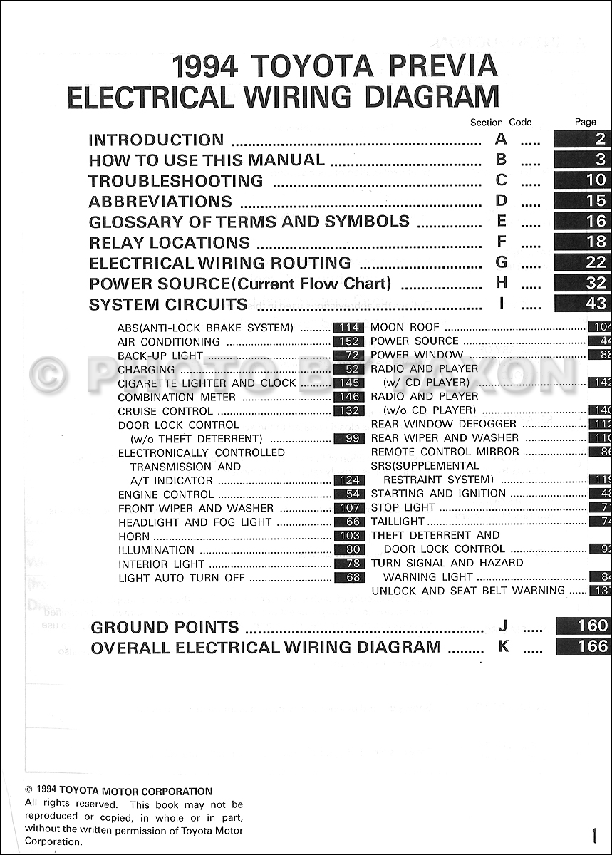 1994 toyota previa wiring diagram manual original supplement � table of  contents