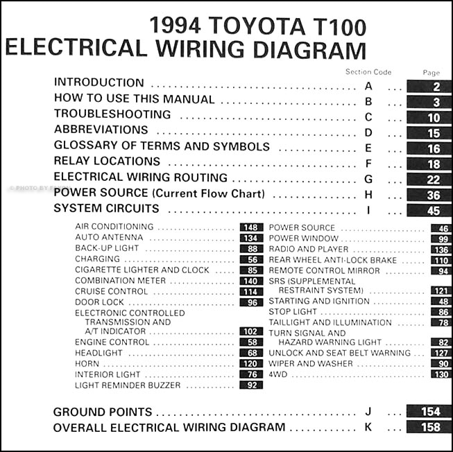 1994 Toyota T100 Truck Wiring Diagram Manual Original on