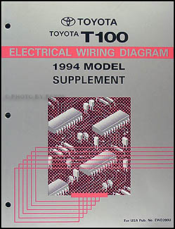 1994 Toyota T100 Truck Wiring Diagram Manual Original Supplement RCK10 2.7L