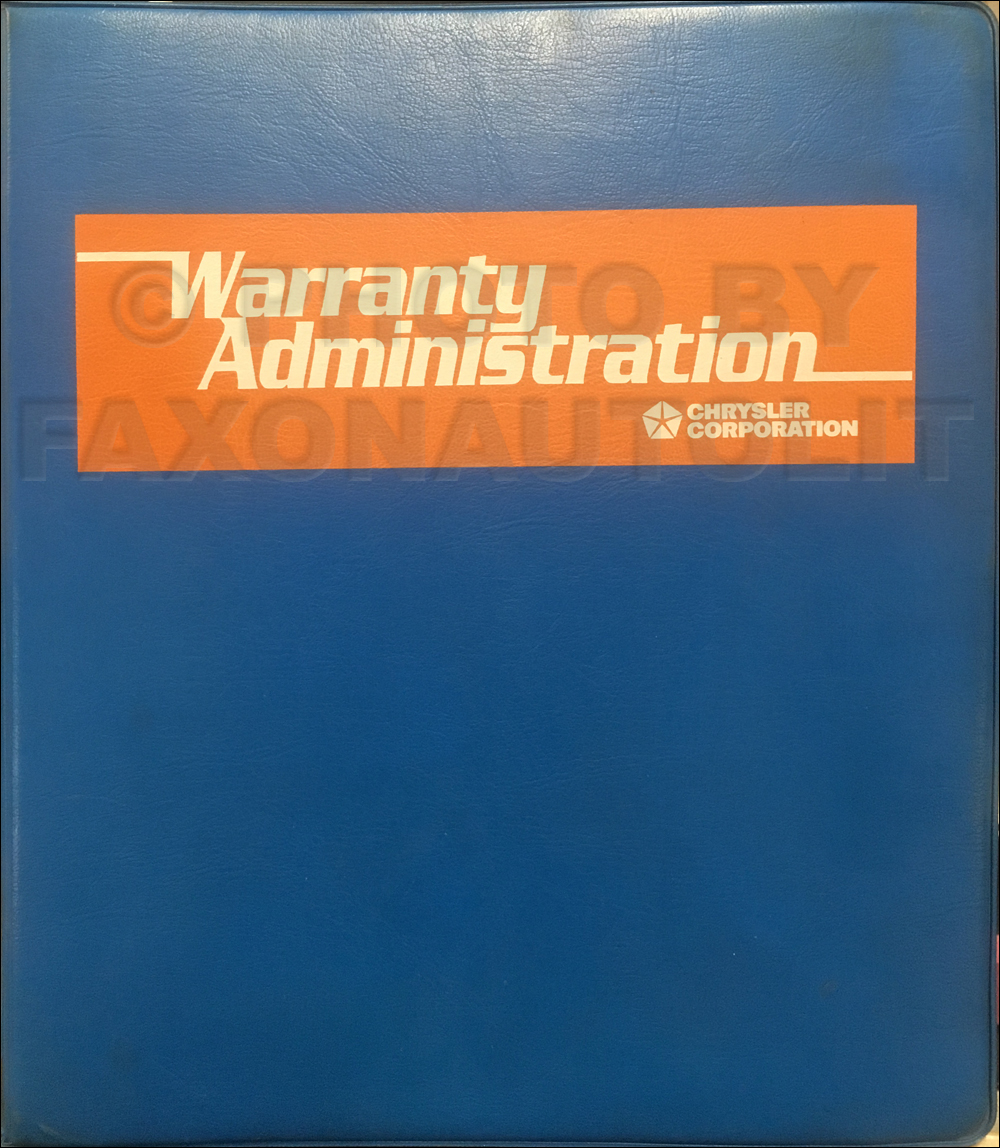 1995-2000 Mopar Warranty Administration Manual Original