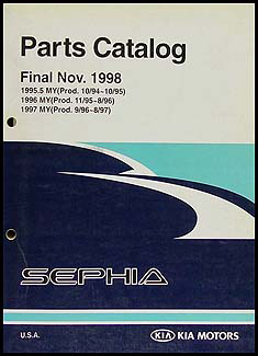 1995-1997 Kia Sephia Parts Book Original