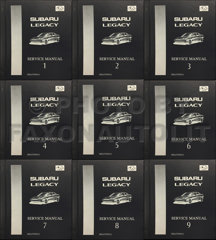 1995-1998 Subaru Legacy Repair Shop Manual 9 Volume Set Original Binders