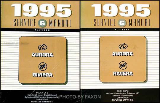 1995 Olds Aurora Buick Riviera Shop Manual Original 2 Volume Set