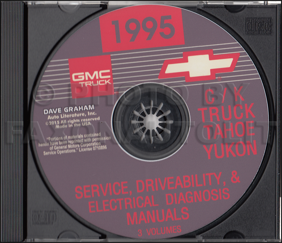 1995 Chevrolet GMC C/K Pickup Tahoe Yukon Service, Driveability, Electrical Diagnosis Manuals on CD