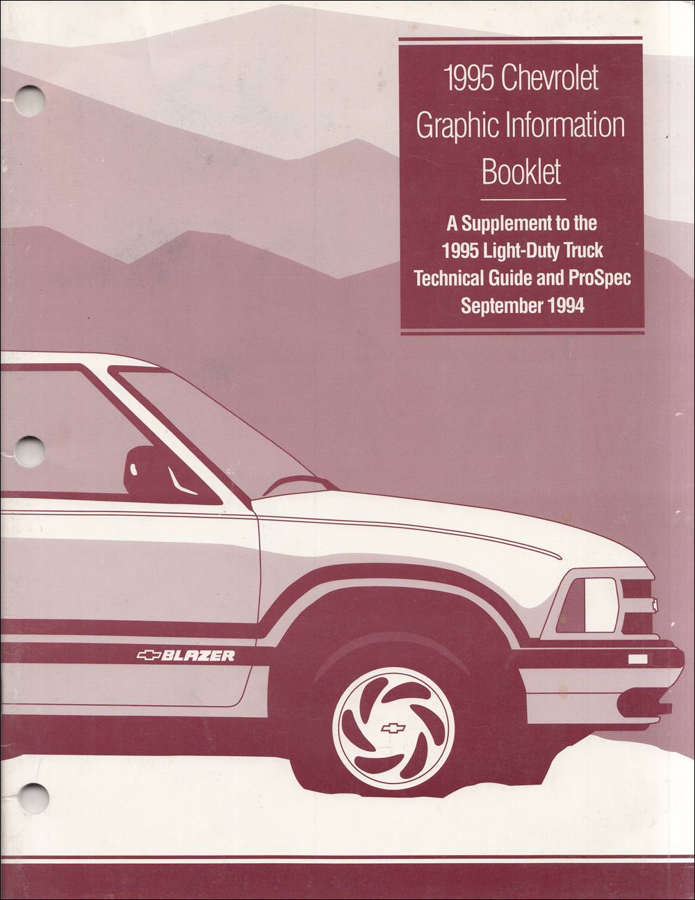1995 Chevrolet Light Truck Graphic Color Booklet Original Supplement