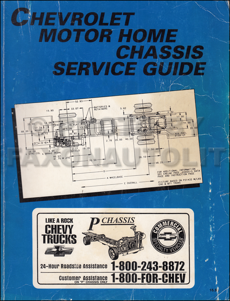1992 Chevrolet P Motorhome & Forward Control Shop Manual Original