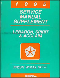 1995 Lebaron, Spirit, & Acclaim Shop Manual Supplement Original