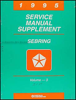 1995 Chrysler Sebring Shop Manual Original Supplement