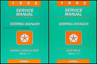 1995 Chrysler Sebring Dodge Avenger Repair Shop Manual Original 2 Volume Set