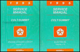 1995 Colt & Summit Shop Manual Original 2 Volume Set