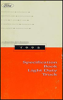 1995 Ford Truck SUV and Van Service Specifications Book Original