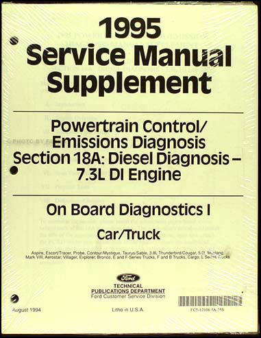 1995 Ford 7.3L DI Diesel Engine/Emissions Diagnosis Manual Original