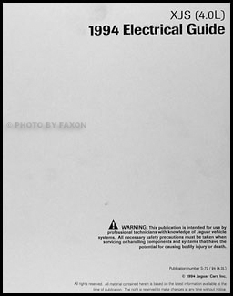 1994 Jaguar XJS 4.0L Electrical Guide Wiring Diagram Original