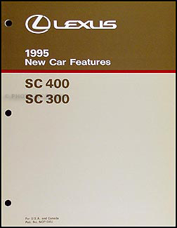 1995 Lexus SC 400 300 Features Manual Original