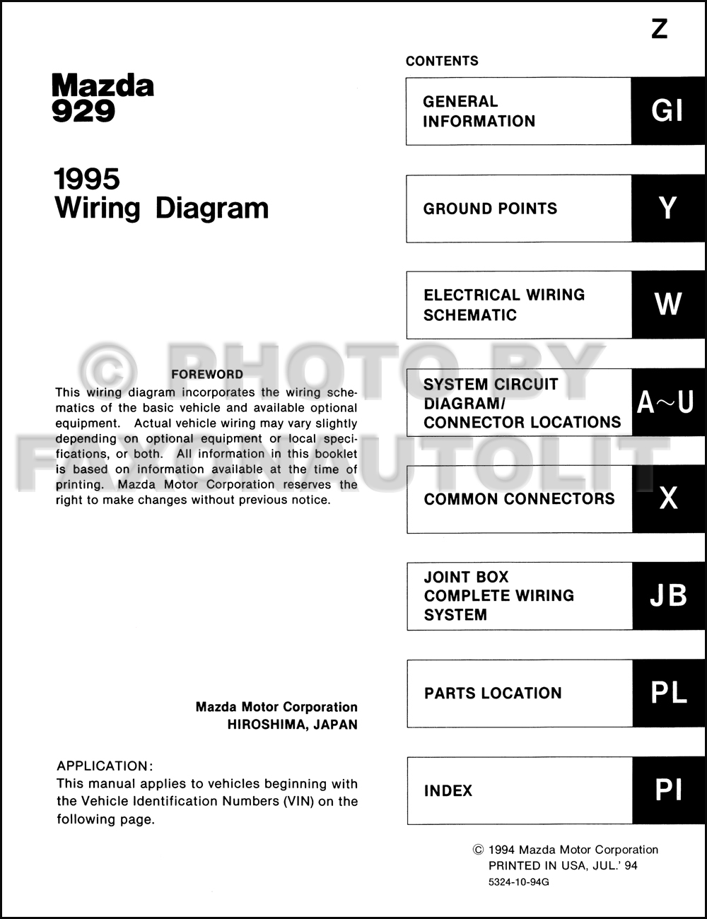 Mazda 929 Radio Wiring Diagram Schematics 95 Isuzu 1995 Manual Original Suzuki Vitara