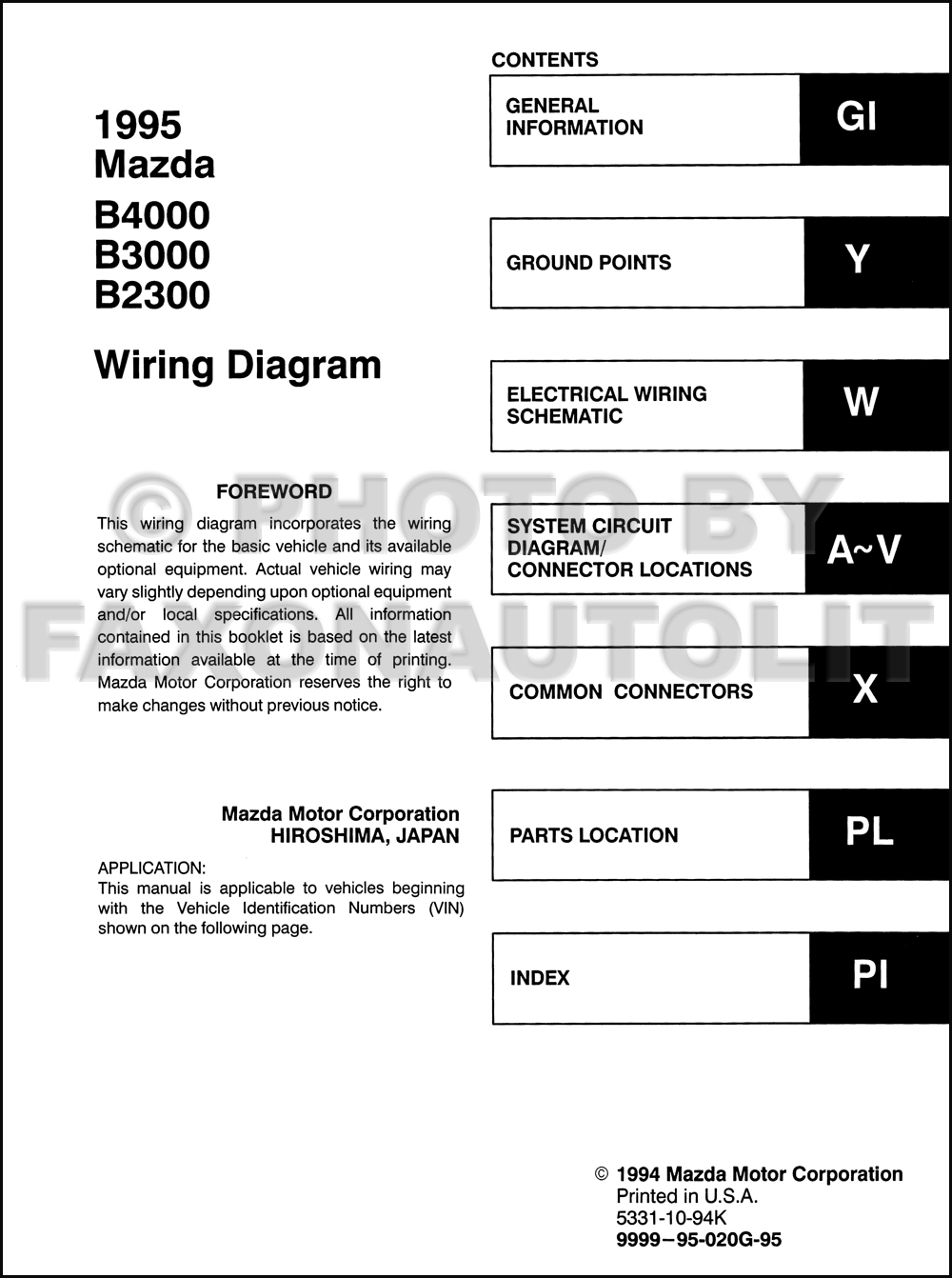 1995 Mazda B3000 Engine Diagram Opinions About Wiring B4000 B2300 Pickup Truck Manual Original Rh Faxonautoliterature Com Brake Line