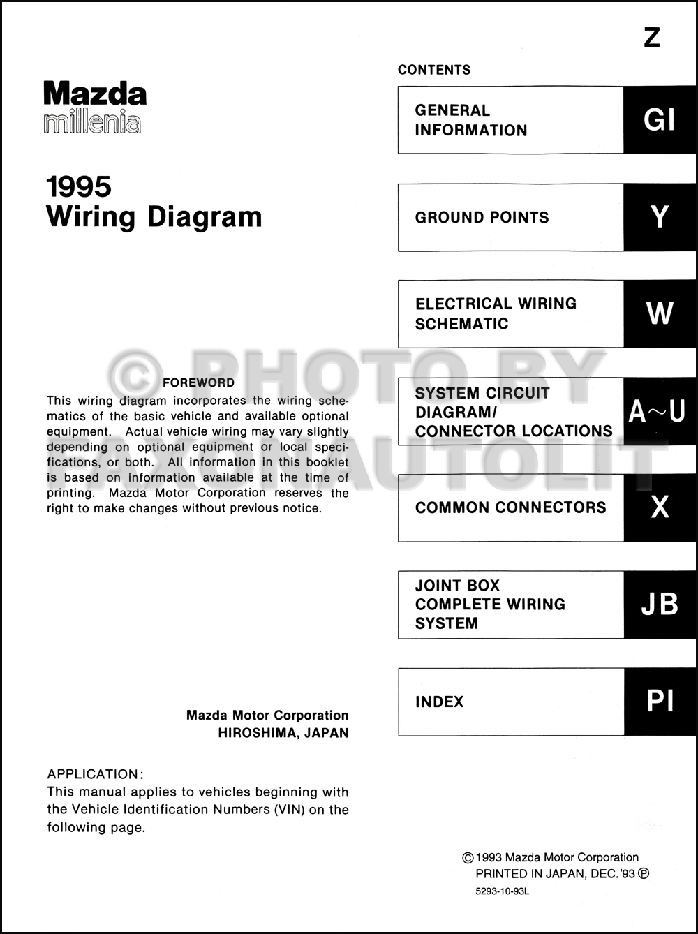 1995 Mazda Millenia Wiring Diagram Manual Original