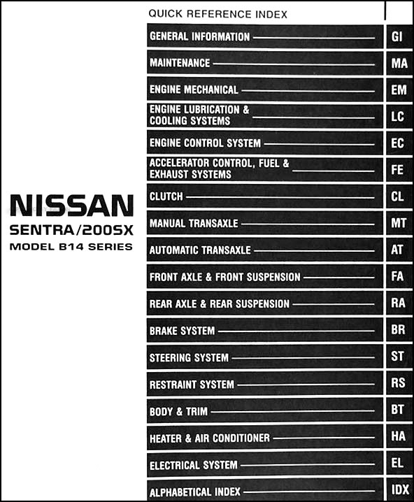 1995 Nissan Sentra  200sx Repair Shop Manual Original
