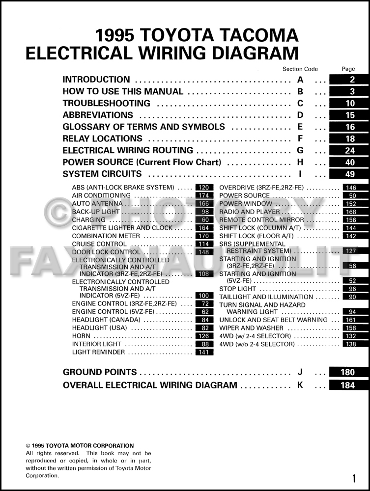 1995 Toyota Tacoma Pickup Wiring Diagram Manual Original
