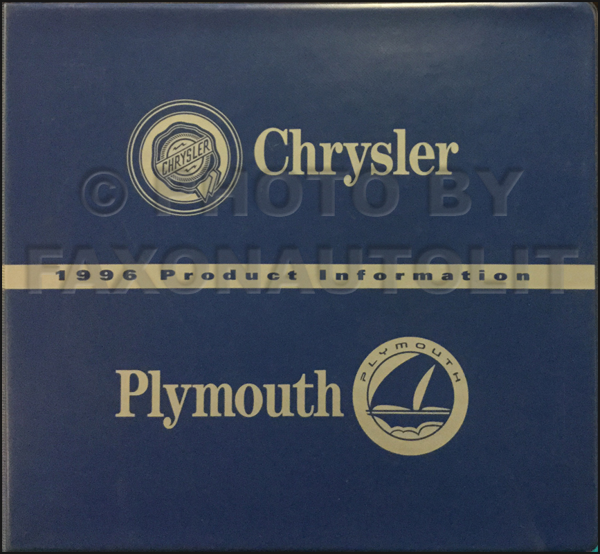 1996 Chrysler Plymouth Color and Upholstery Album and Data Book Original