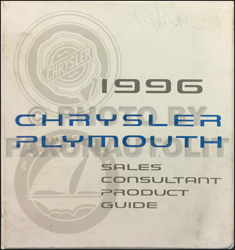 1996 Chrysler Plymouth Sales Consultant Product Guide Original