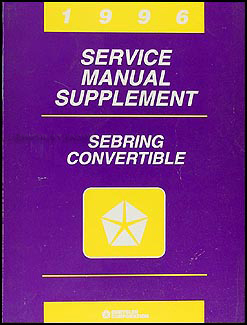 1996 Sebring Convertible Shop Manual Original Supplement