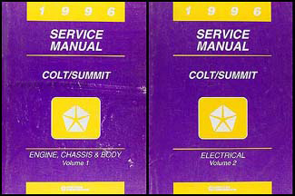 1996 Colt & Summit Shop Manual Original 2 Volume Set