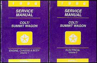 1996 Colt & Summit Wagon Shop Manual Original 2 Volume Set