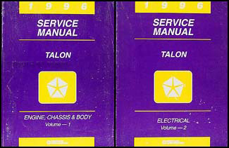 1996 Eagle Talon Shop Manual Original 2 Volume Set