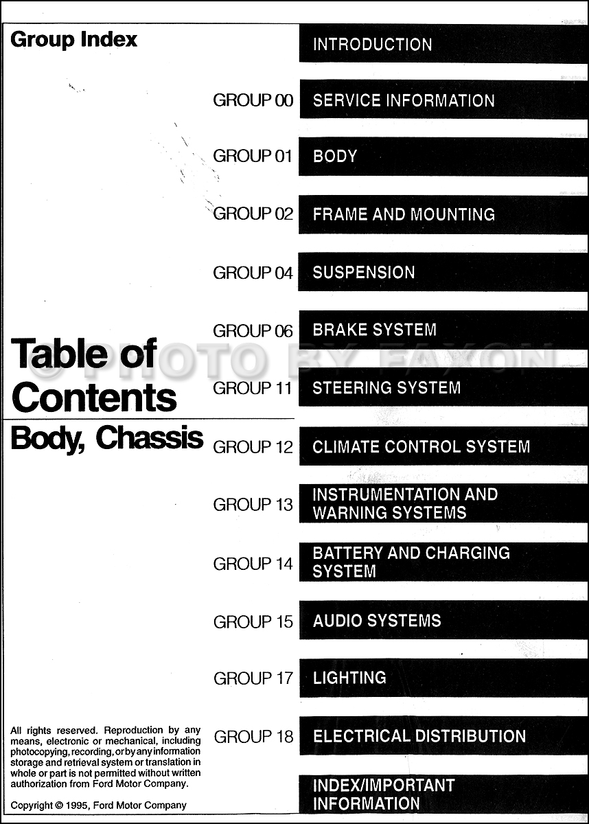 Table of Contents Body and Chassis Volume