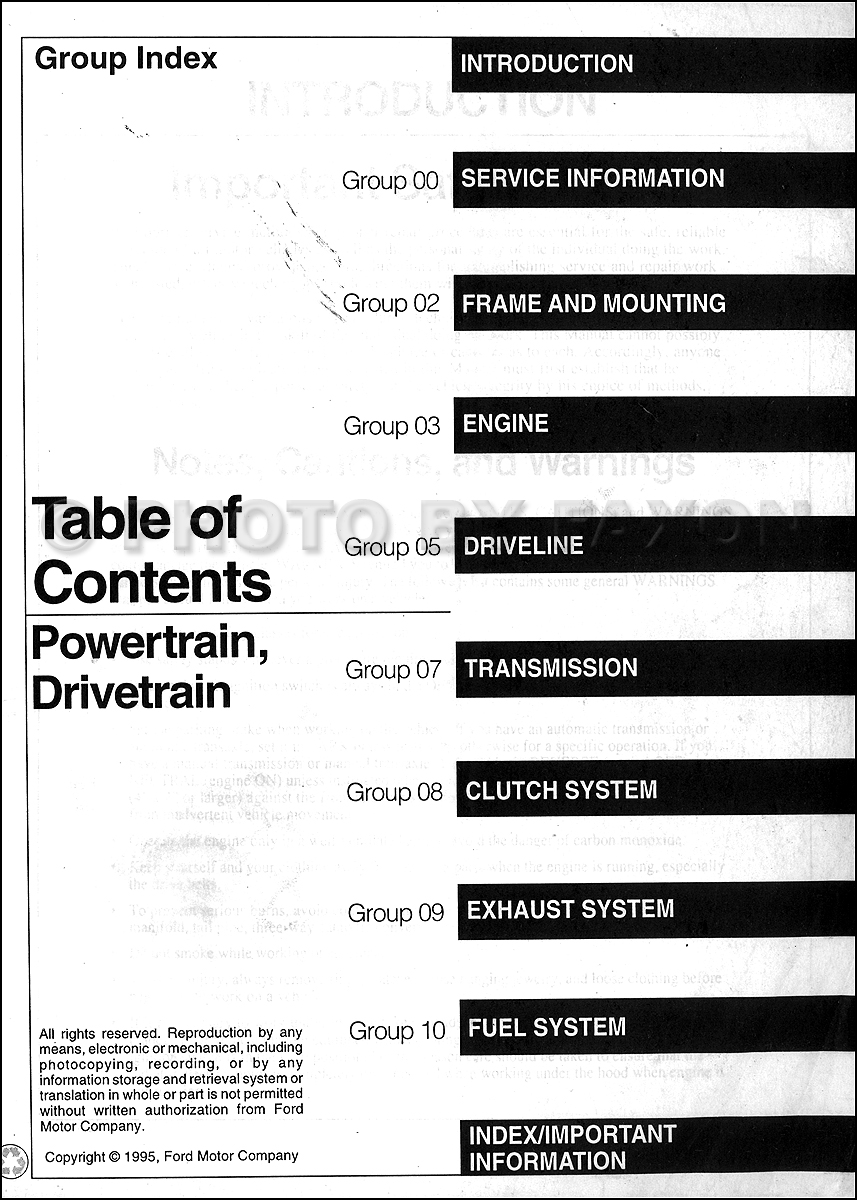 Table of Contents Powertrain and Drivetrain Volume