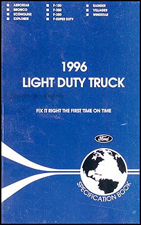 1996 Ford Truck SUV and Van Service Specifications Book Original