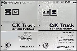 1996 CK 1500-3500 Repair Shop Manual Reprint Pickup Suburban Tahoe Yukon