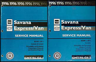 1996 Express & Savana Repair Manual 2 Volume Set Original