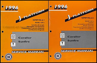 1996 Cavalier & Sunfire Repair Manual Original 2 Volume Set