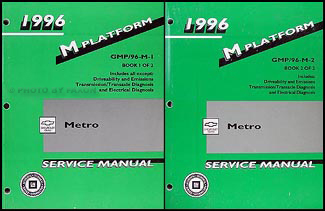 1996 Metro Repair Manual Original 2 Volume Set