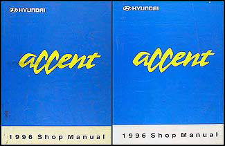 1996 Hyundai Accent Shop Manual Original 2 Volume Set