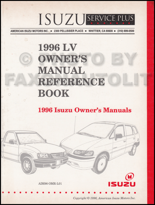 1996 Isuzu LV Owner's Manual Original Reference Book Rodeo Trooper Oasis Hombre