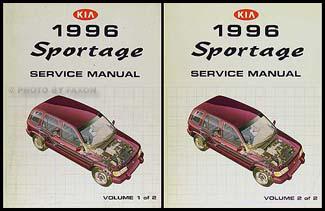 1996 Kia Sportage Repair Manual 2 Volume Set Original