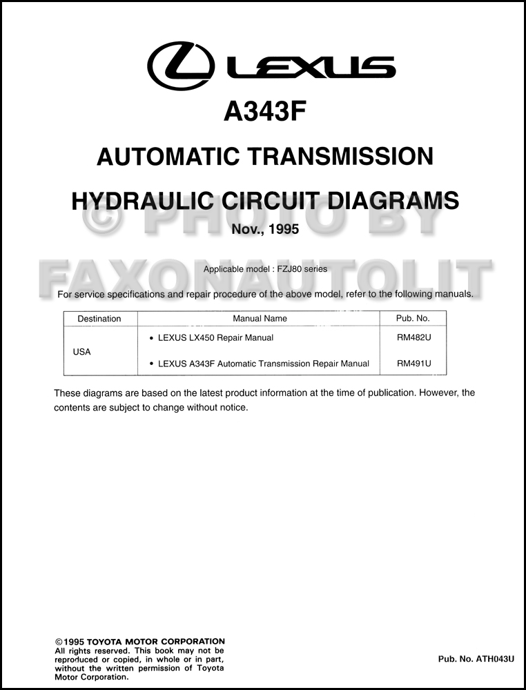 1996 Lexus LX450 Automatic Transmission Hydraulic Circuit Diagrams