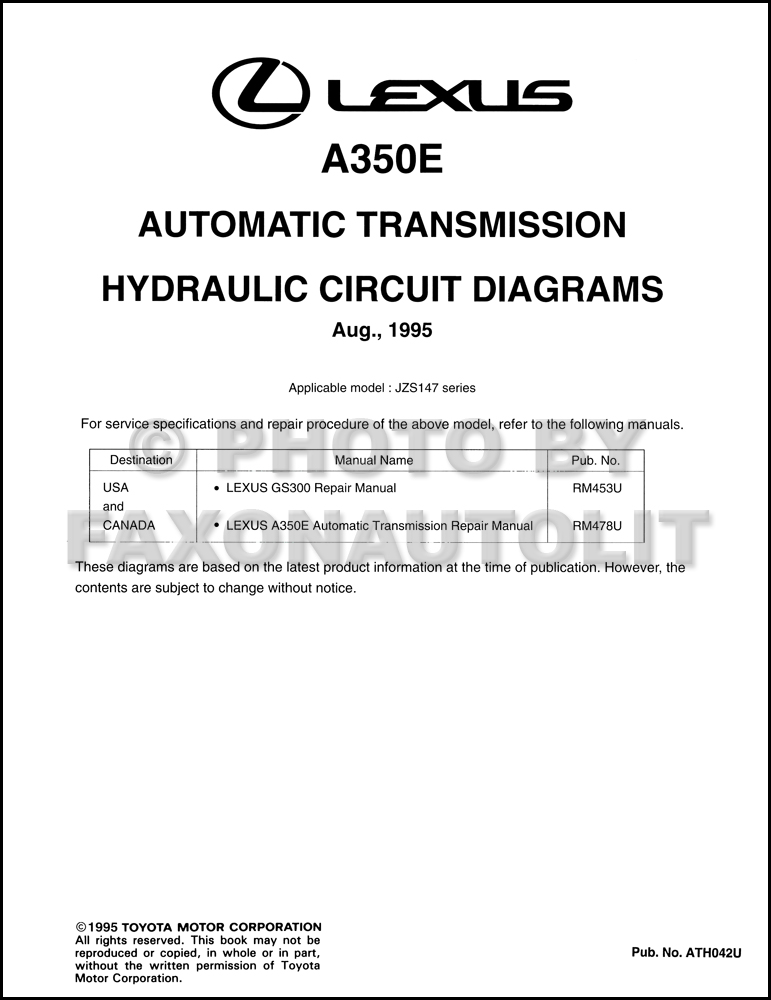 1996 Lexus GS300 Automatic Transmission Hydraulic Circuit Diagrams